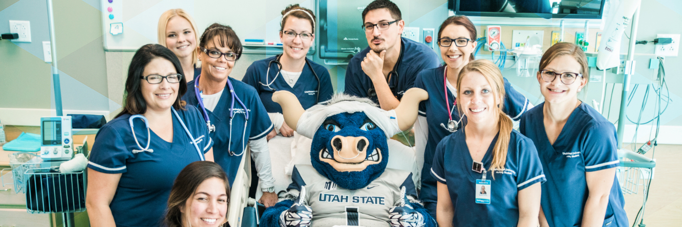 Nursing Students with Big Blue